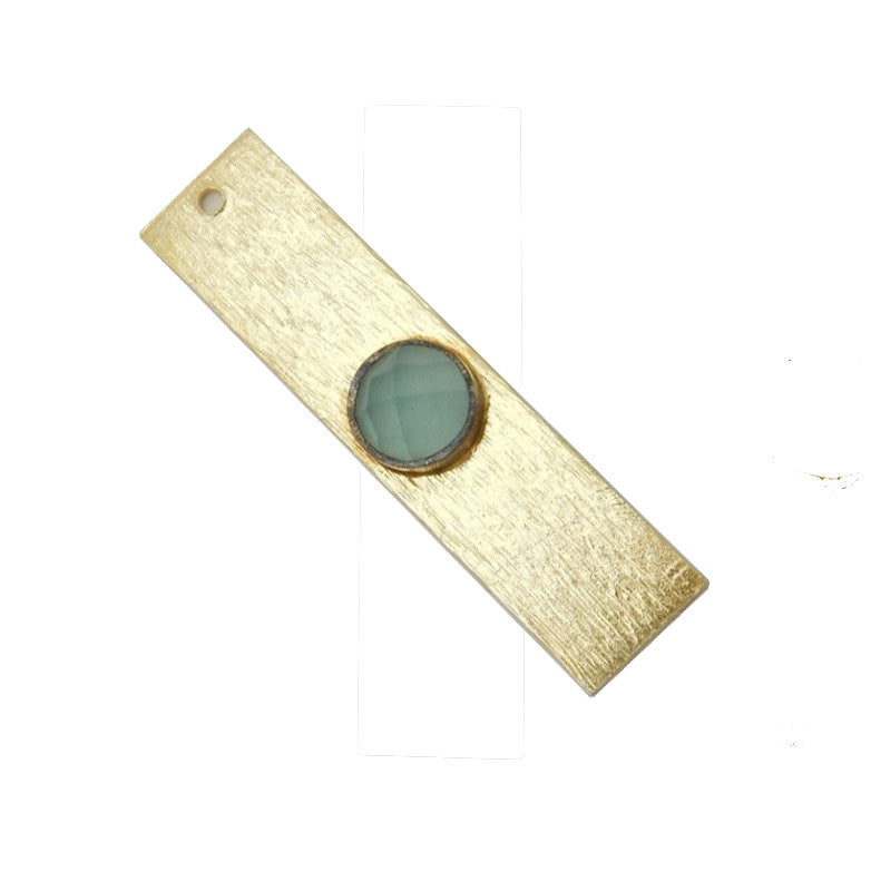 Blue Chalcedony Gemstone Bar -- Gold Over Sterling Bar Charm Pendant Gemstone Bezel Accent (S41B3b-03)