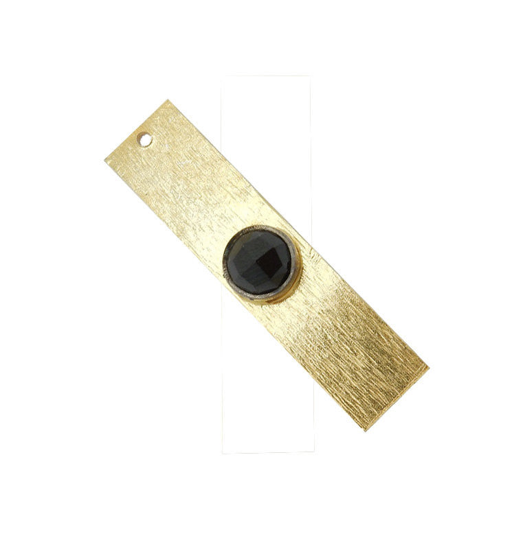 Black Onyx Gemstone Bar -- Gold Over Sterling Bar Charm Pendant Gemstone Bezel Accent (S41B3b-02)