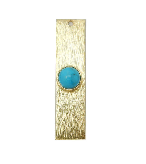 Turquoise Howlite Gemstone Bar -- Gold Over Sterling Bar Charm Pendant Gemstone Bezel Accent