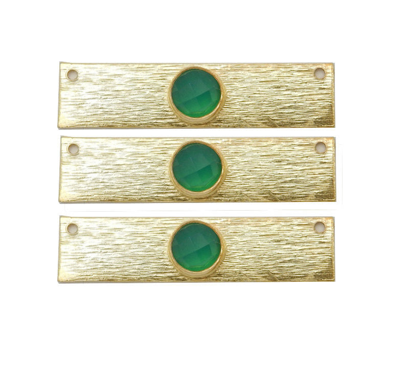 Green Onyx Gemstone Bar -- Gold Over Sterling Bar Charm Connector Gemstone Bezel Accent (S41B3b-14)