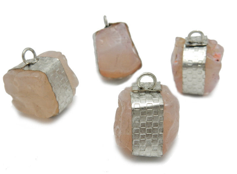 Raw Pink Agate Pendant -- Tibetan-Style Raw Freeform Cube with Silver Toned Band