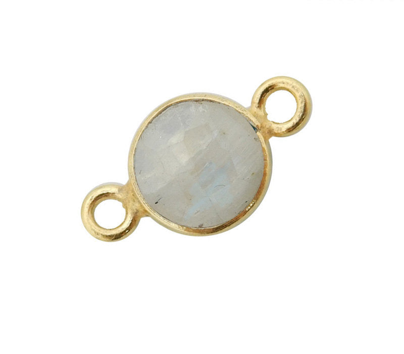 Moonstone Station Round Pendant Connector - 6mm Gold Over Sterling Silver Bezel Charm Double Bail Pendant (S52B18-03)