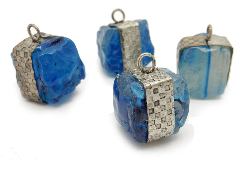 Raw Blue Agate Pendant -- Tibetan-Style Raw Freeform Cube with Silver Toned Band
