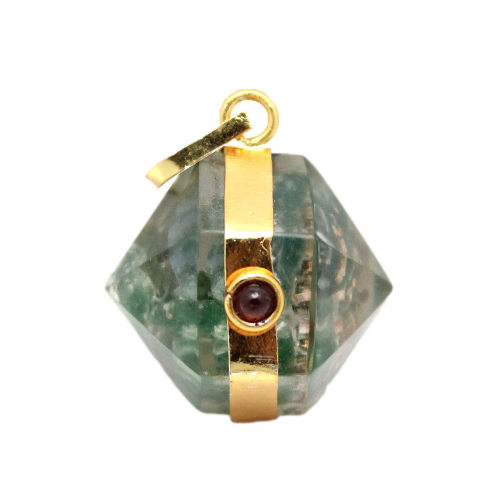 Orgon Green Aventurine Pendant with Gold Tone Bail and Agate Accent