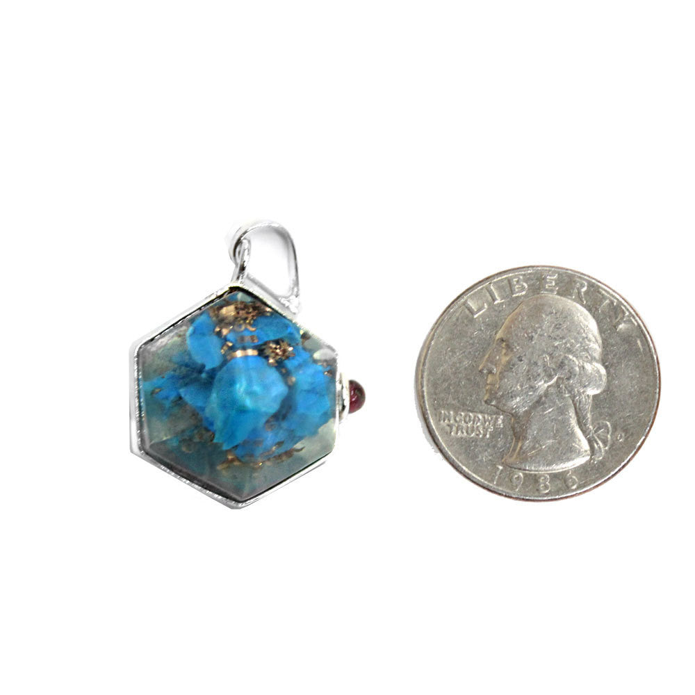 1 (ONE) Orgon Turquoise Howlite Pendant - Silver Tone Bail - -Agate Accent - S52B22b-01