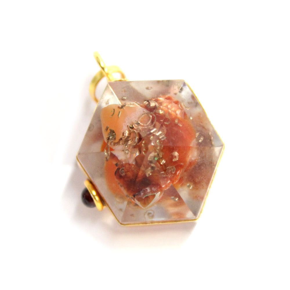 Orgon Carnelian Pendant with Gold Tone Bail and Agate Accent -
