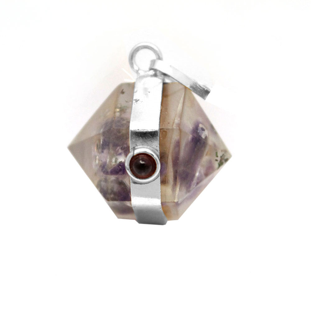 Orgon Amethyst Pendant with Silver Tone Bail and Agate Accent- S54B17-01