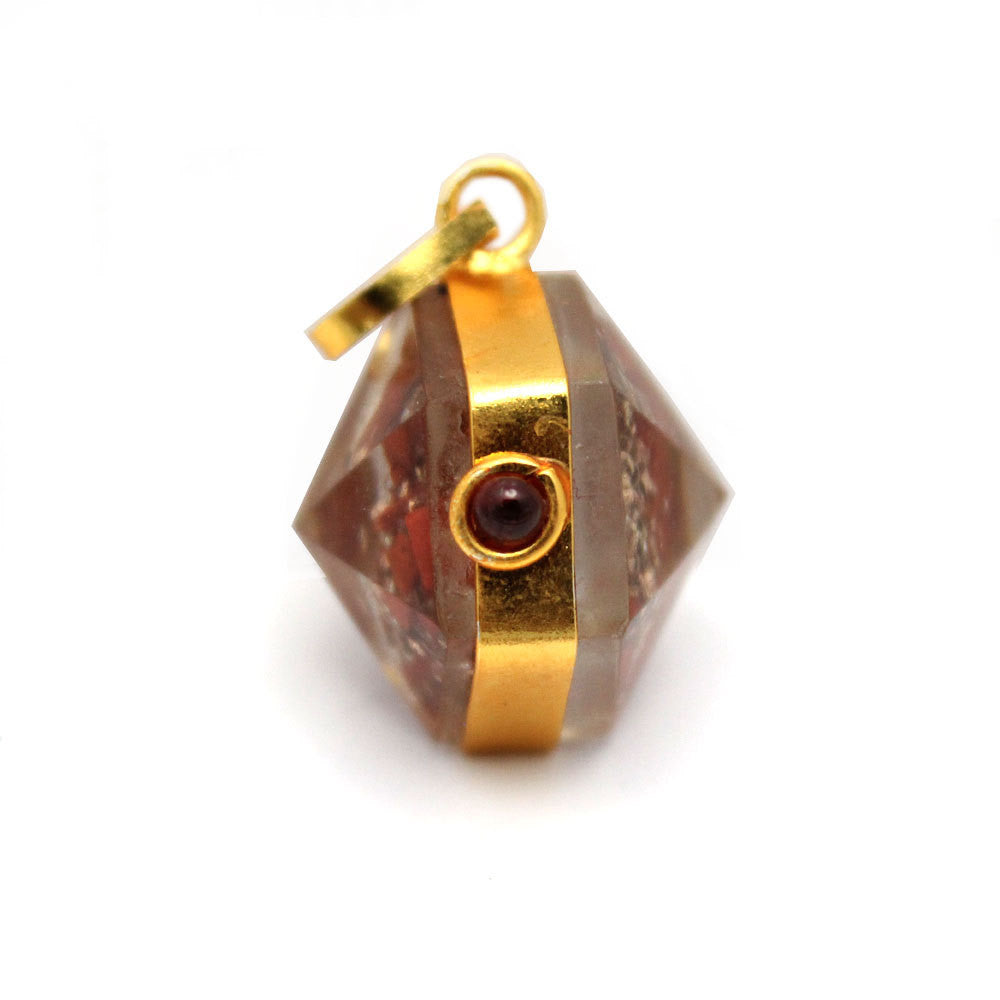 Orgon Red Jasper Pendant with Gold Tone Bail and Agate Accent