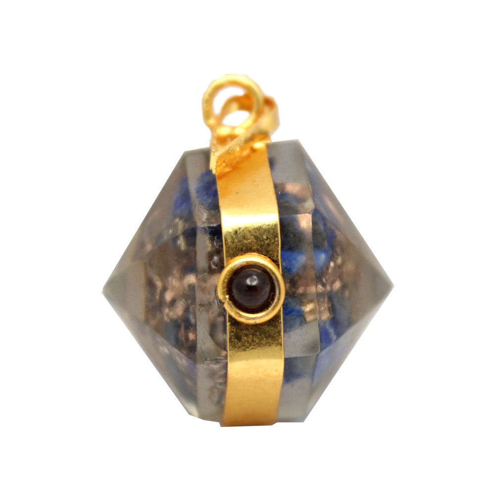 Orgon Lapis Lazuli Pendant with Gold Tone Bail and Agate Accent