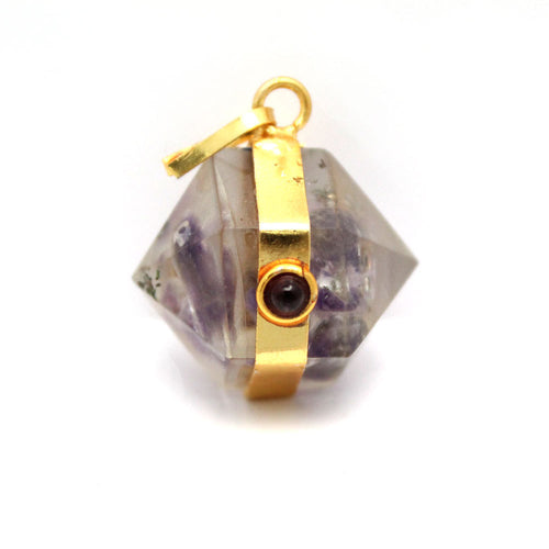 Orgon Amethyst Pendant with Gold Tone Bail and Agate Accent S54B17-04