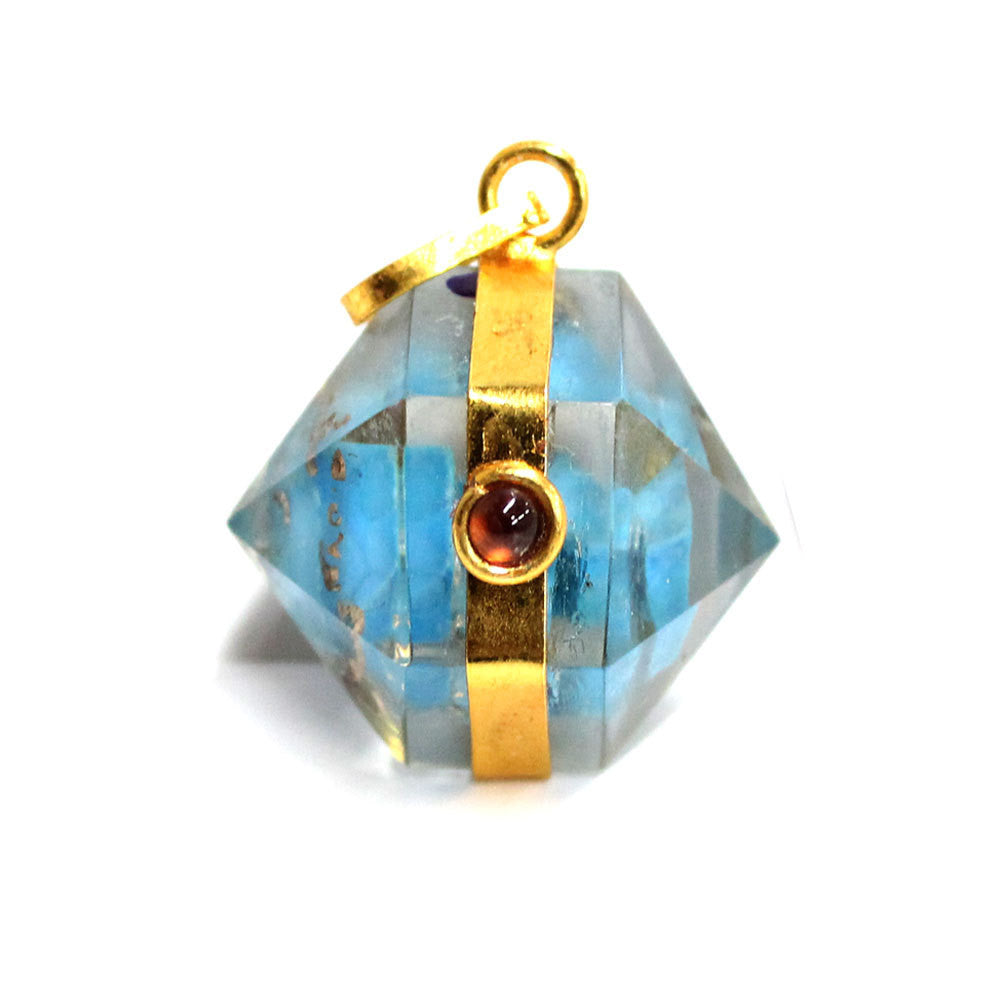 Orgon Turquoise Howlite Pendant with Gold Tone Bail and Agate Accent