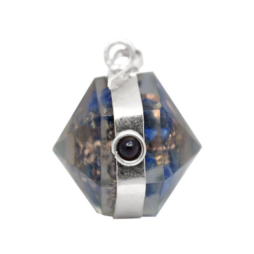 Orgon Lapis Lazuli Pendant with Silver Tone Bail and Agate Accent