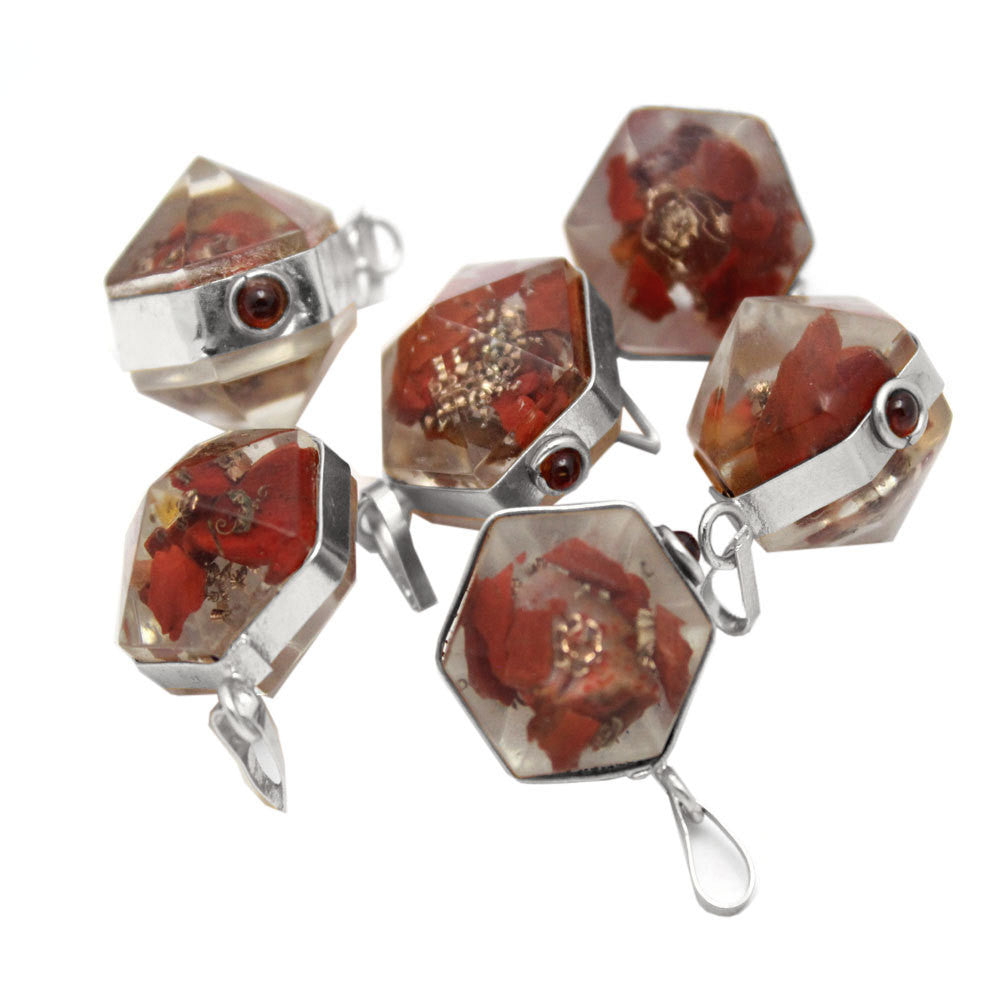 Orgon Red Jasper Pendant with Silver Tone Bail and Agate Accent