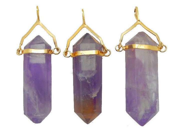 Amethyst Double Terminated Pencil Point Pendant with Gold Plated Bail  (S52B23b-01)