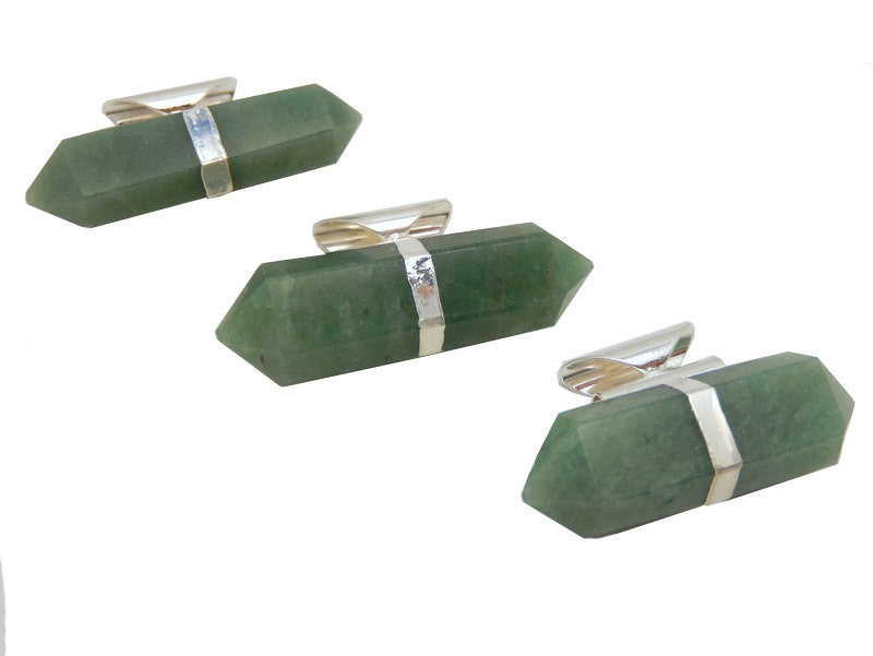 Aventurine double terminated Pencil Point Pendant with Silver Plated Bails. (S52B23b-10)