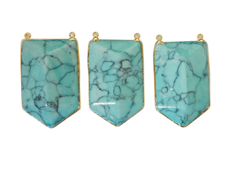 Turquoise Howlite Shield Double Bail Pendant with Electroplated 24k Gold Edge(S52B25b-04)