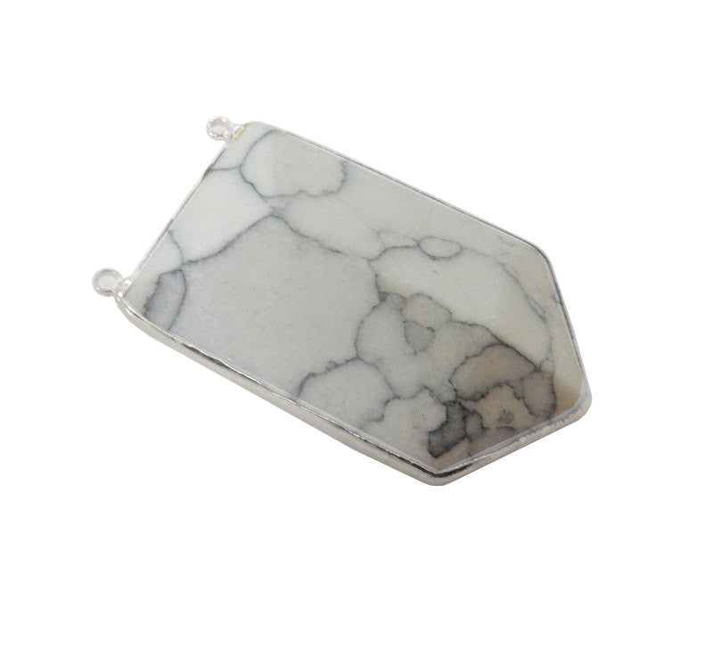 White Howlite Shield Double Bail Pendant with Electroplated Silver Edge (S52B25b-02)