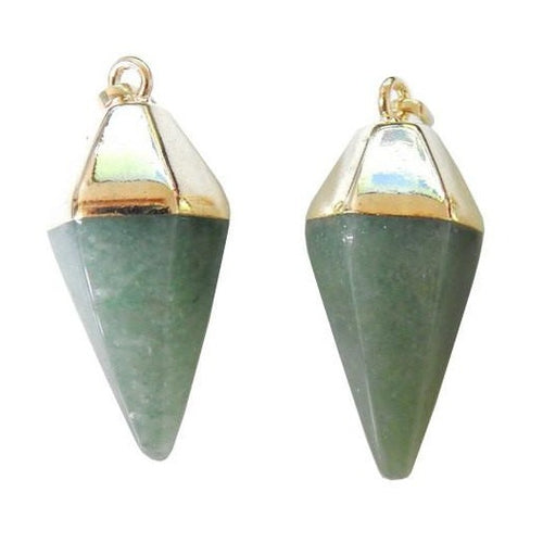 Aventurine Spear Pendant with Electroplated 24k Gold Cap and Bail (S52B24b-03)