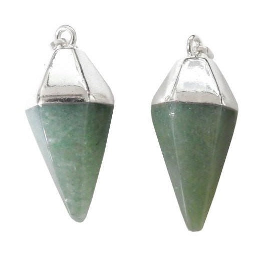 Aventurine Spear Pendant with Electroplated Silver Cap and Bail (S52B24b-08)