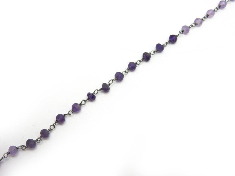 Amethyst Shaded Wire-Wrapped Chain-- Rosary style Oxidized Sterling Silver Chain-- PER FOOT (CHN-583)