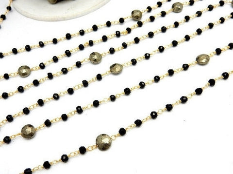 Black Spinel and Round Pyrite Wire Wrapped Beaded Chain - Gold Over Sterling or Gold Plated Rosary Style Chain - PER FOOT (CHN-565)