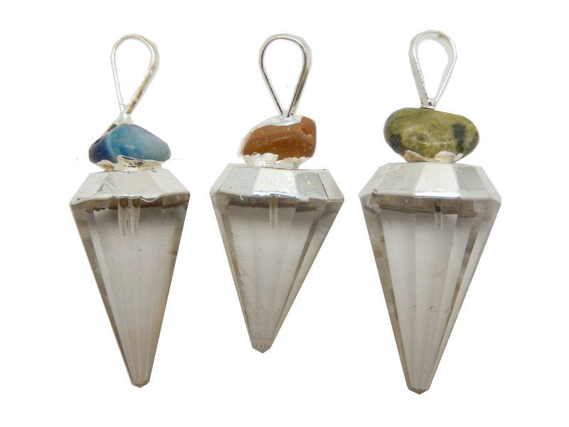 Fancy Crystal Quartz Point with Gemstone Accent-- Electroplated Silver Cap and Bail -- (S52B23b-15)