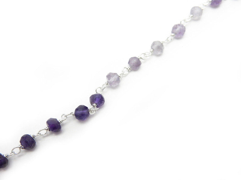 Amethyst Quartz Shaded Wire Wrapped Beaded Chain - Sterling Silver Rosary Style Chain -Chain per foot (CHN-601)