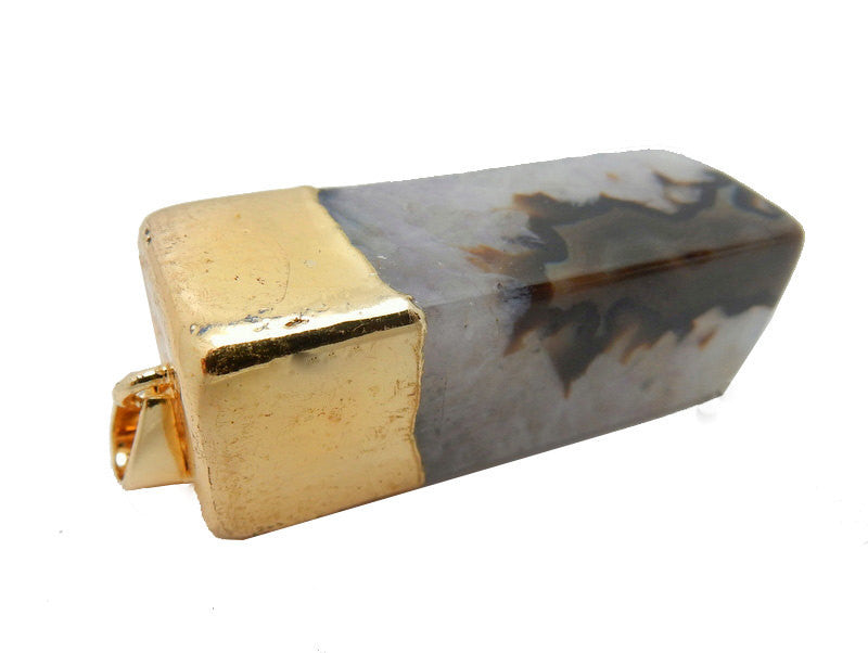 Black Agate Rectangle Cuboid Pendant with Electroplated 24k Gold Cap and Bail (S52B26b-01)