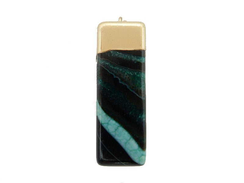 Black/Green Dyed Agate Rectangle Cuboid Pendant with Electroplated 24k Gold Cap and Bail (S52B26b-03)