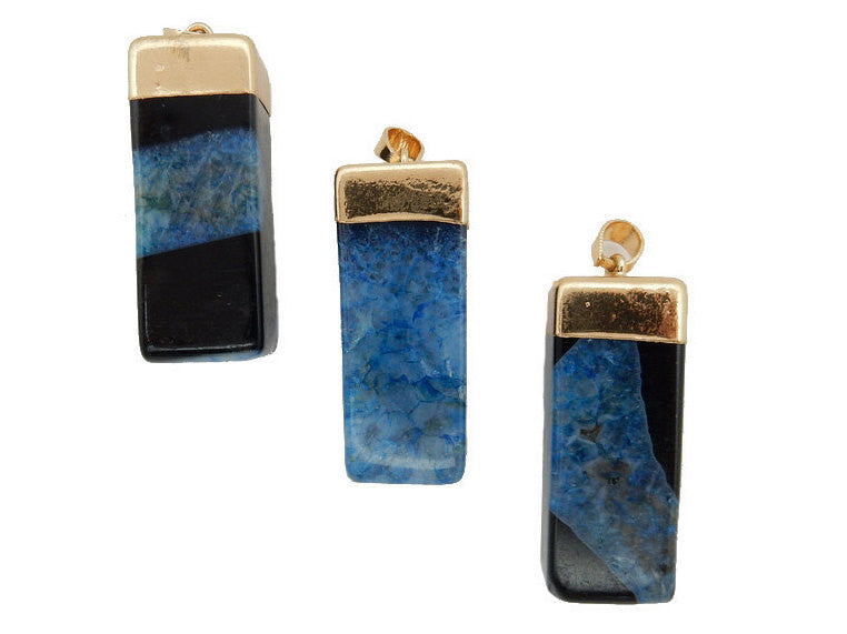 Black/Blue Dyed Agate Rectangle Cuboid Pendant with Electroplated 24k Gold Cap and Bail (S52B26b-04)
