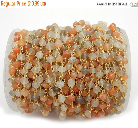 35% off Wholesale Moonstone Shaded Wire Wrapped Beaded Chain - Gold Over Sterling Rosary Chain -Chain per foot (CHN-609)