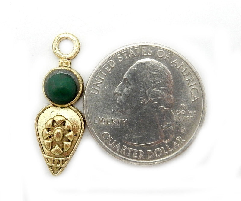 Tibetan-Style Teardrop Pendant with Malachite Accent Brass Bail