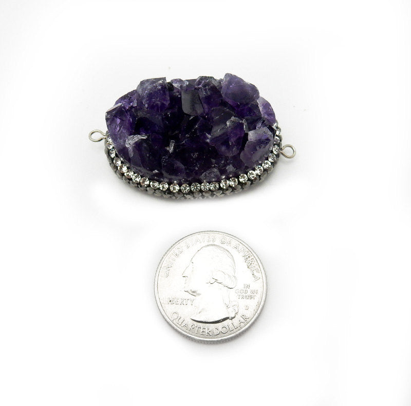 Amethyst Point Cluster Oval  Double Bail Pendant with Rhinestone Pave Accent Edge and Silver Plated Bail