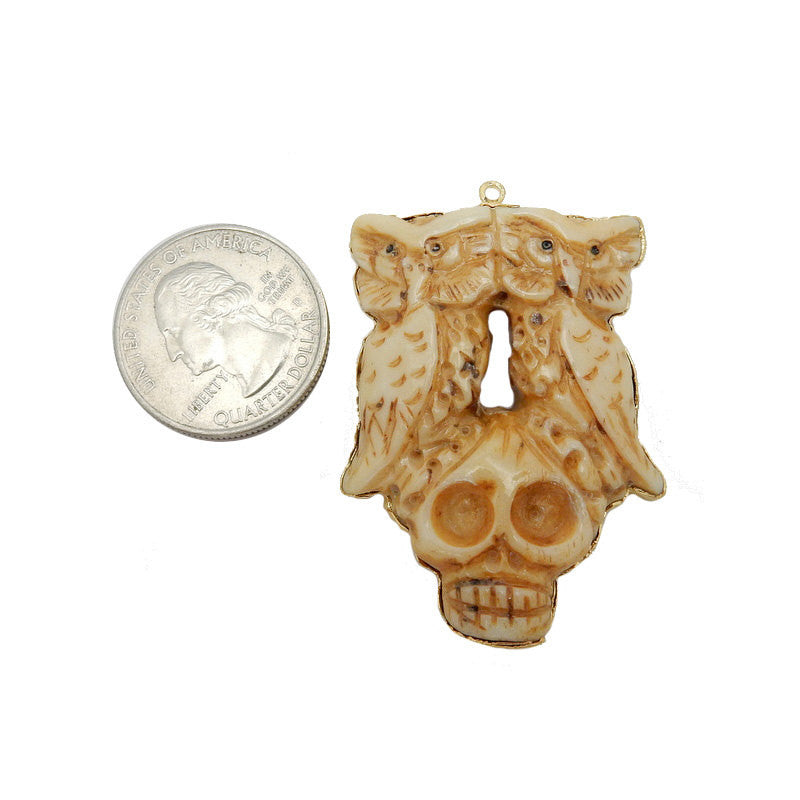 Bone Owl Pendant - Owls Perched on Skull Bone Pendant with Electroplated 24k Gold Edge
