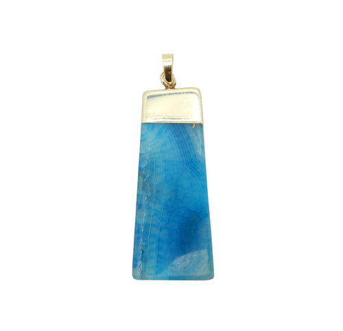 Dyed Blue Agate Slice Slab Pendant with Electroplated 24k Gold Cap and Bail