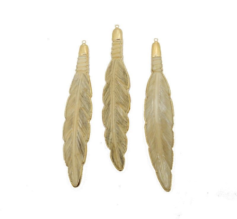 Feather Pendant - Large White Bone Feather Pendant with Electroplated 24k Gold Edge and Cap (S93B12-02)