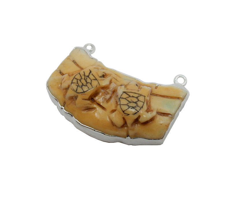Turtle Pendant - Tan Bone Turtle Double Bail Pendant with Electroplated Silver Edge (S93B12-03)