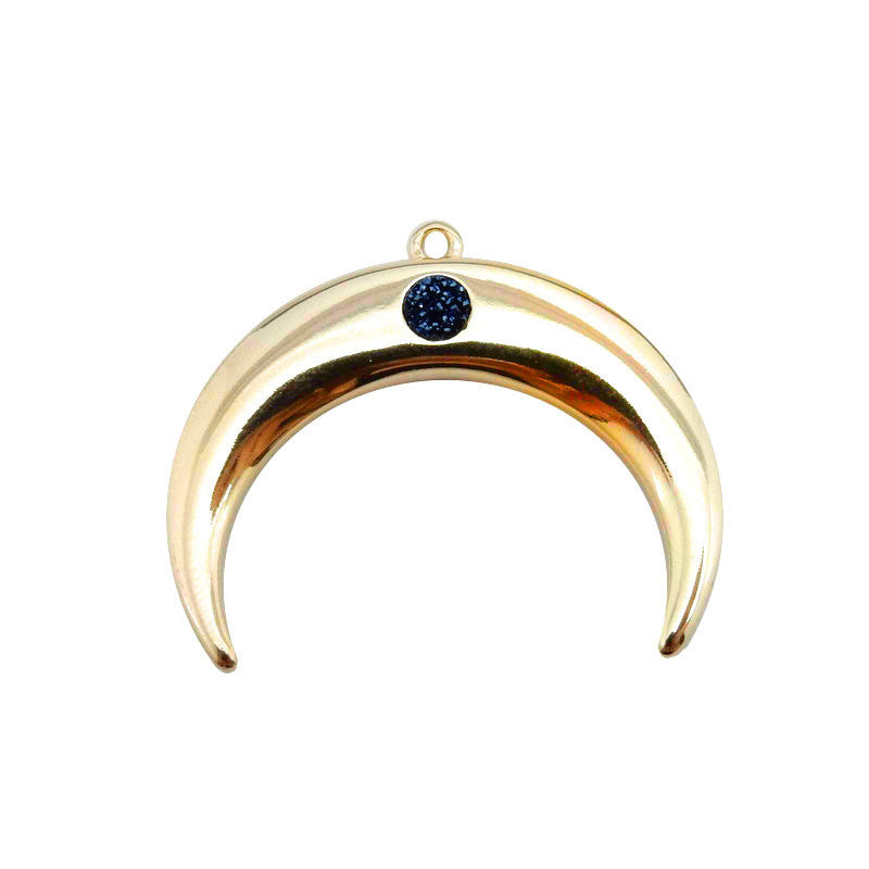 Gold Plated Crescent Pendant with Round Mystic Blue Druzy Accent