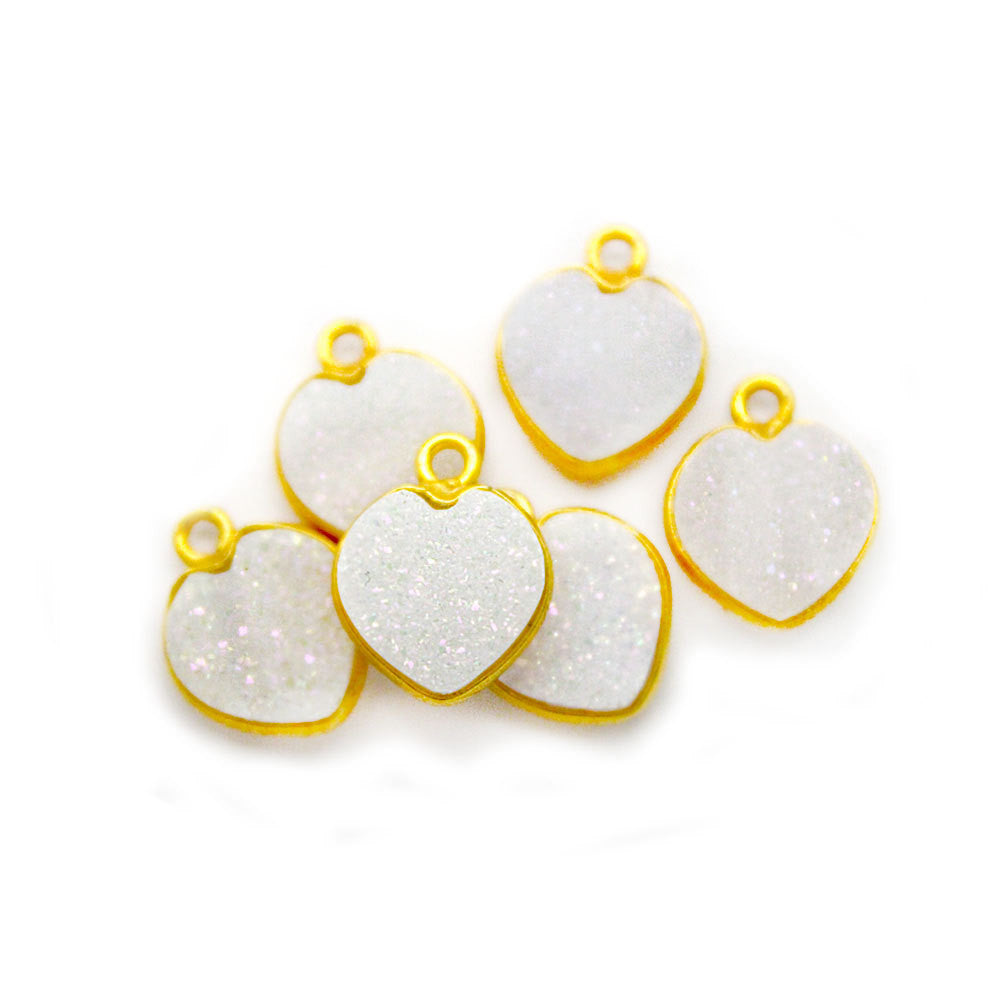 Gold Plated Sterling White Shimmer Druzy - 10mm - Heart Shaped Bezel Pendant