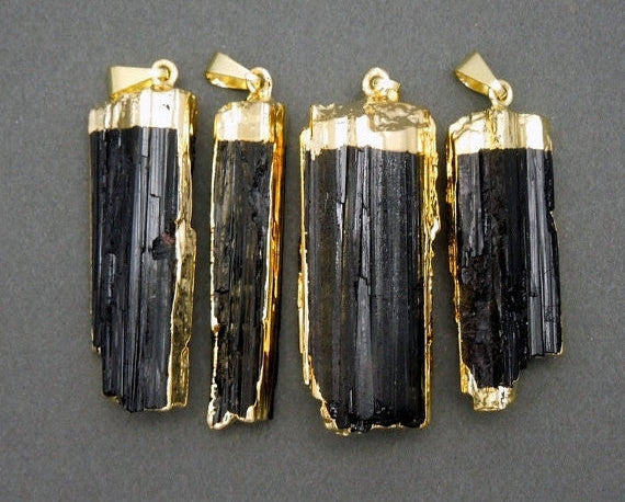 Raw Tourmaline Charm Pendant - Raw Black Tourmaline 24k Gold Electroplated Cap and Edges