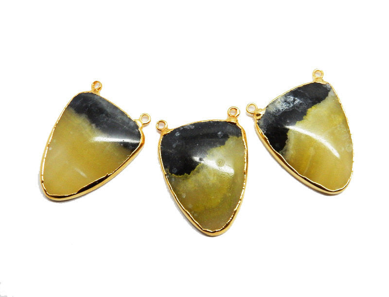 Bumble Bee Jasper Double Bail Pendant with Electroplated 24k Gold Edge
