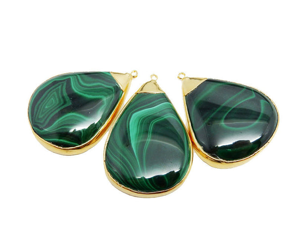 Large Malachite Drop Pendant with Electroplated 24k Gold Edge (S93B18-22)