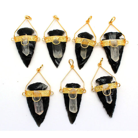 Black Obsidan Arrowhead Pendant with Crystal Quartz Point Accent - Gold Tone Band and Bail - S59B19-02
