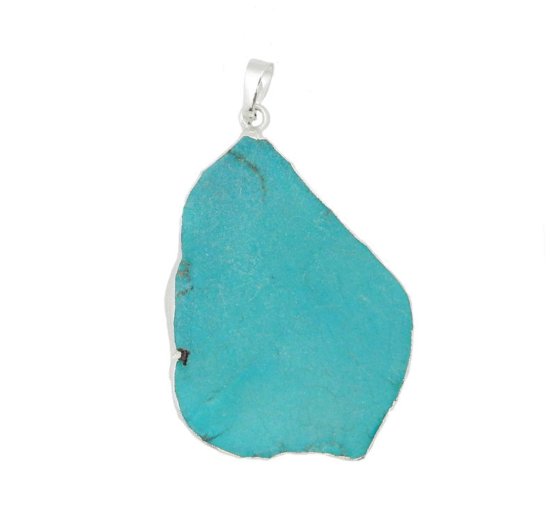 Turquoise Howlite pendant, with Silver electroplated edge and bail LGS (S58B14a)