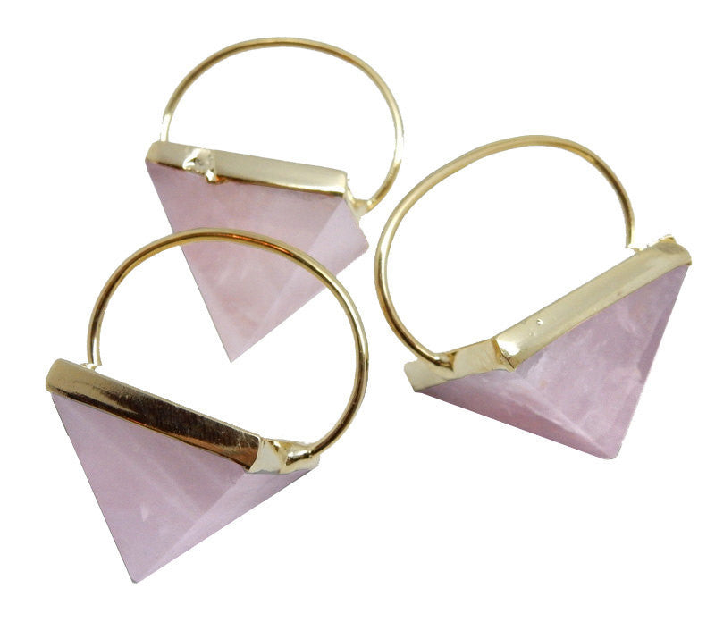 Rose Quartz Pyramid with Fancy Electroplated 24k Gold Cap and Bail
