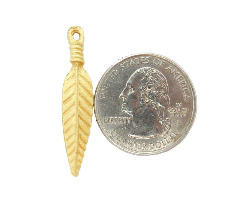 Brass Feather Pendant with Bail - BFC