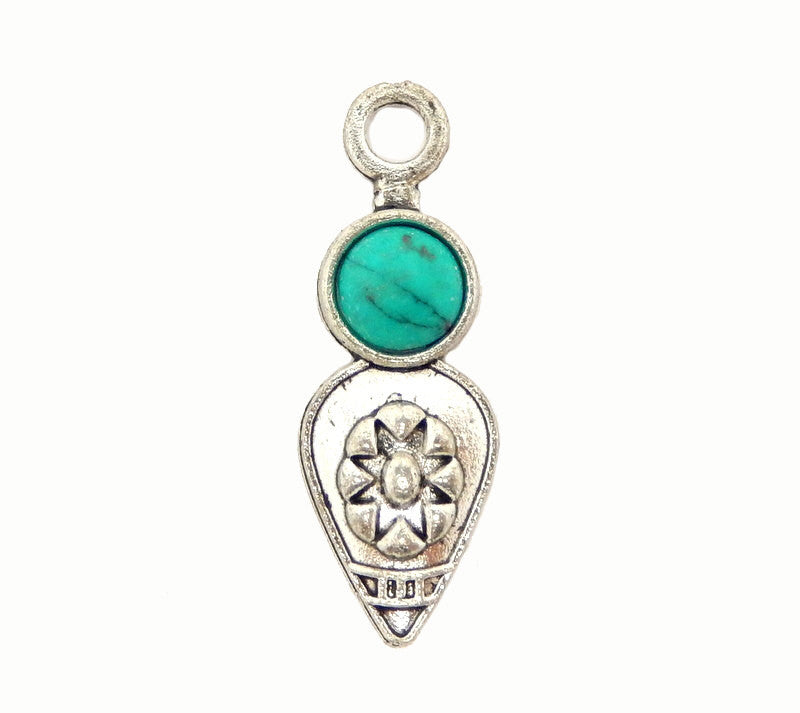 Tibetan-Style Teardrop Pendant with Turquoise Accent Silver Toned Brass Bail