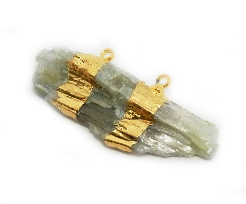 Freeform Green Kyanite Slab Double Bail Pendant with Electroplated 24k Gold Bands