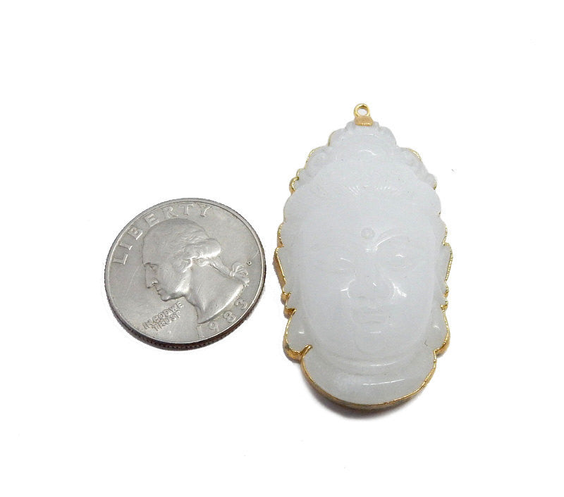 Large White Jade Buddha Head Pendant with Electroplated 24k Gold Edge