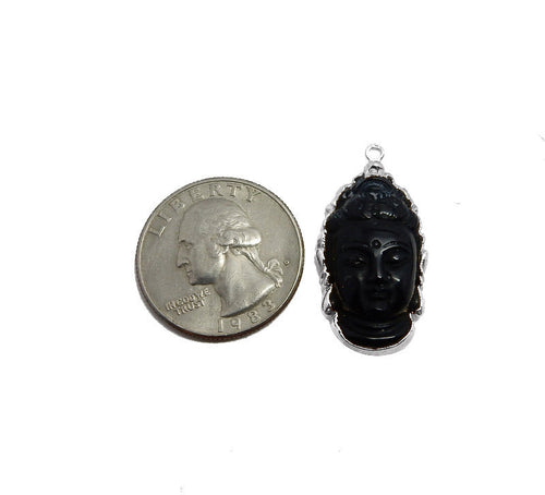 Black Onyx Buddha Head Pendant with Electroplated Silver Edge (S95B17-05)